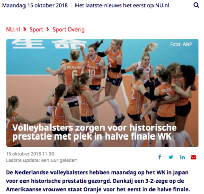 Volleybalsters halve finale WK headline NU.nl